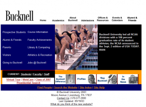 This was the 5th version of the Bucknell public website from 2004.